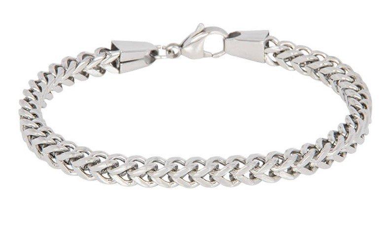 Edelstaal armband, vierkant gourmet schakel, L 22 of 24 cm