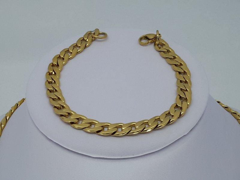 Armband goudkl, 7 open gourmet, edelstaal