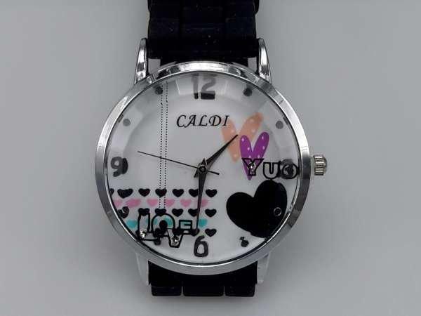 Horloge, zilverkleurig, siliconenband, wijzerplaat hartjes, zwart