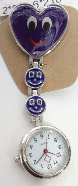 paars hart Smiley clip verpleegsters- zusterhorloge