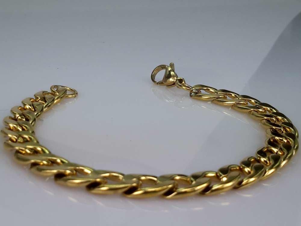 Armband goldfarb, 9 offene Gourmet, edelstahl
