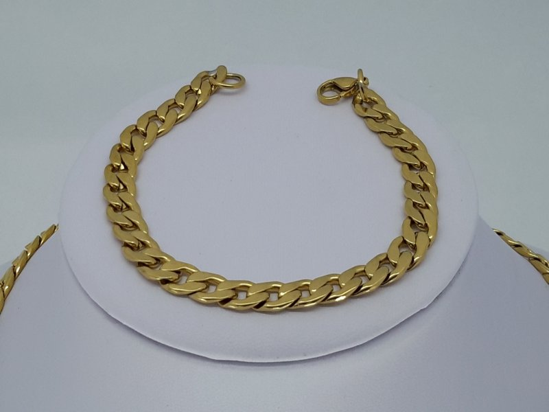 Armband goldfarb, 7 offene Gourmet, edelstahl