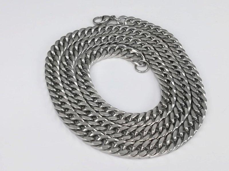 Heren ketting & armband, lang, 8,5 zeer open gourmet, edelstaalset