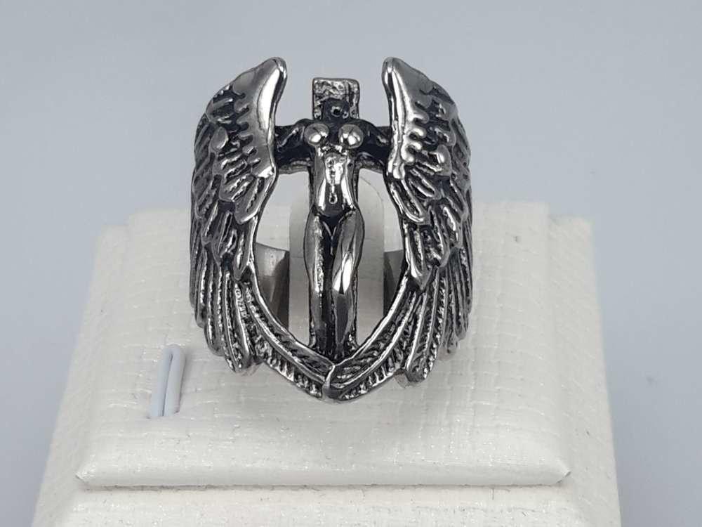 Edelstaal Ringen, Gothic, Vleugel om vrouw, 2 Stuks