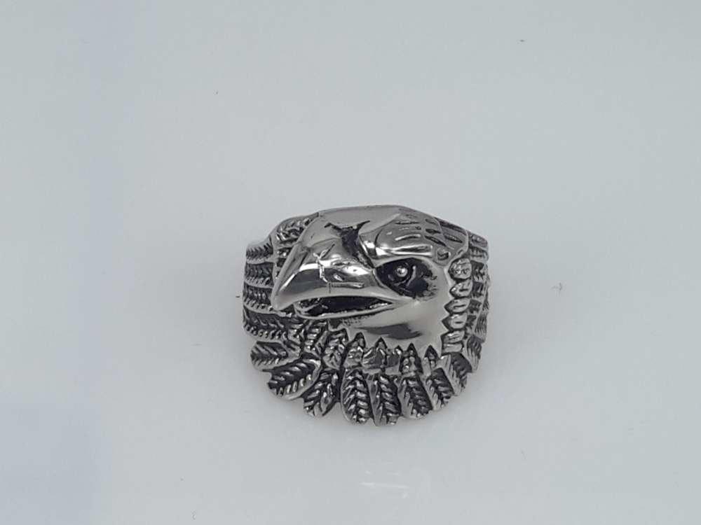 Edelstaal Ringen, Gothic, Adelaarskop, 2 Stuks