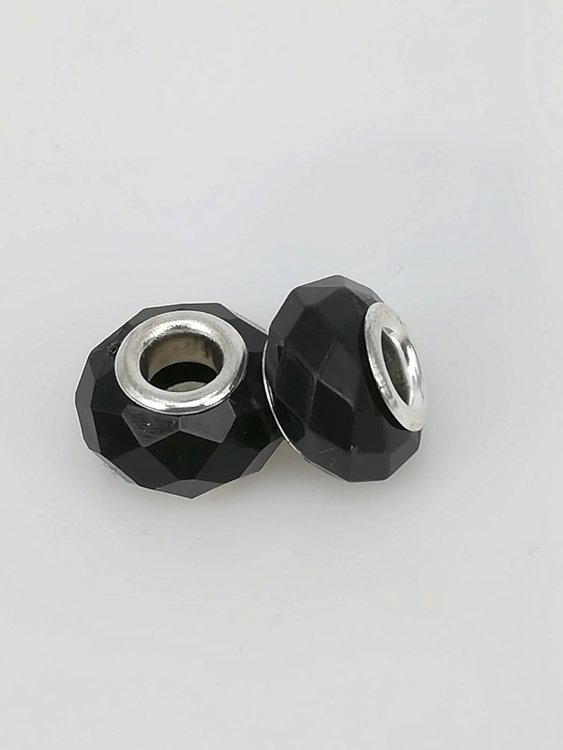 Bedel pandorastyle facet glas, zwart, per 16