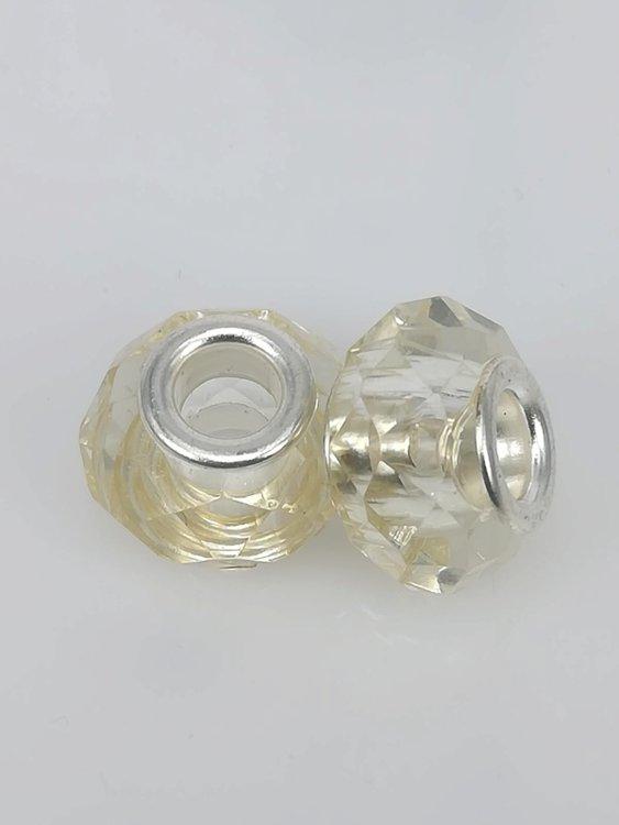 Bedel pandorastyle facet glas, geel, per 16
