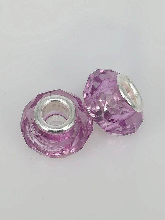Bedel pandorastyle facet glas, lila, per 16