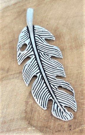 Hanger, blad, antiek zilverkleur.