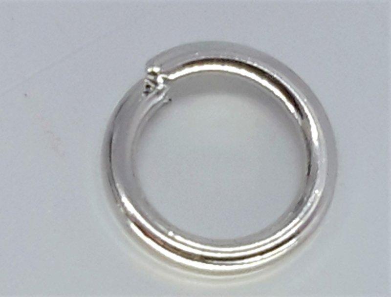 RVS Open ringetje, 7 mm, extra sterk, zilverkleurig, per 100
