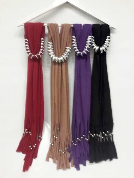 Sjaal met ovale kettingschakels, paars, bruin