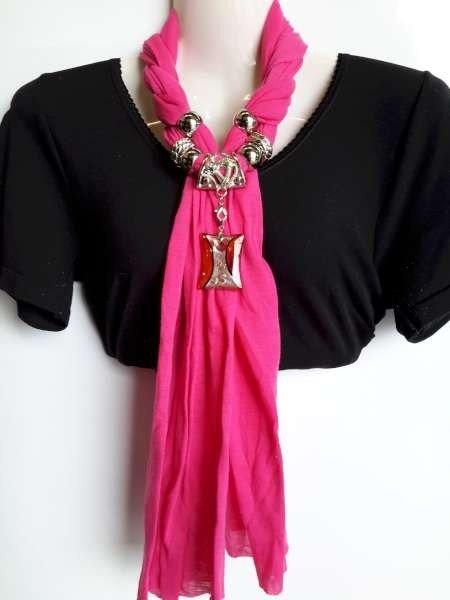 Sjaal met murano glashanger, in 3 kleuren