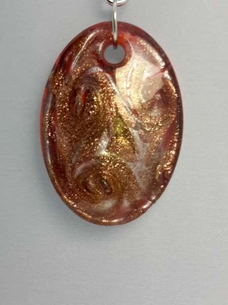 Hanger: ovale met goud-zilverkleurige murano