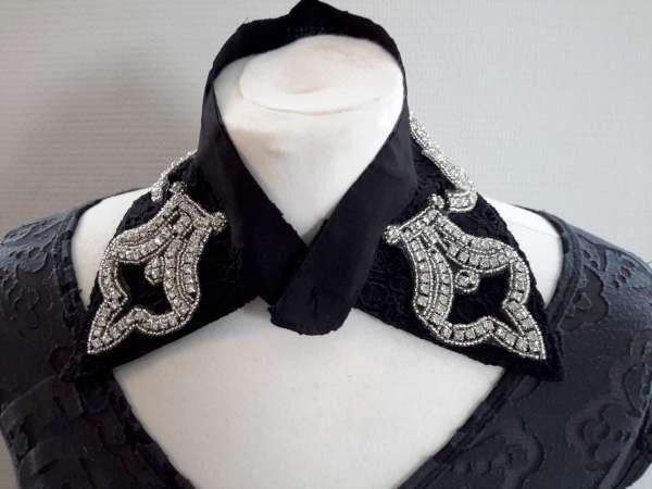 Halskraagketting, zwart, fijn gehaakt kant, zirkonia's, haaksluiting voor