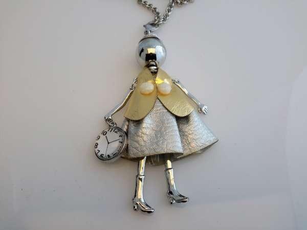 Schakelketting, metaal, hanger: poppetje, jurk zilverkleur, cape goudkleur