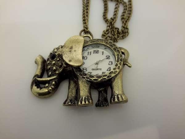 Ketting met klokje, bronskleur, olifant