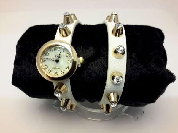 Armbandhorloge, PU leren wrap (2), goudkleur, 20 zirkonia's op studs, 4 kleuren