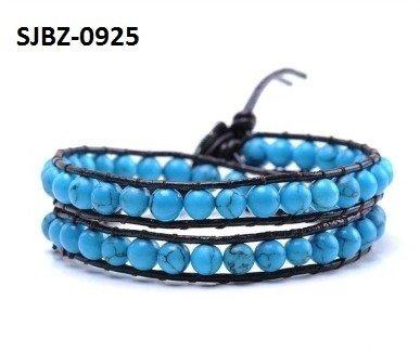 Wrap armband, zwart leer, ronde blauwe Turkoois edelstenen kralen