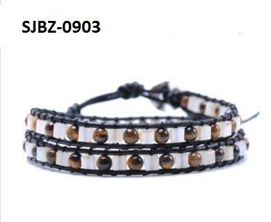 Wrap armband, zwart leer, vierkante witte Agaat en ronde Tijgeroog edelstenen kralen