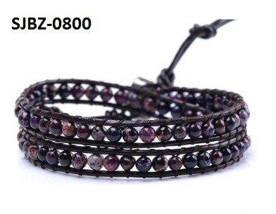 Wrap armband, zwart leer, ronde zwarte, paarse edelstenen kralen