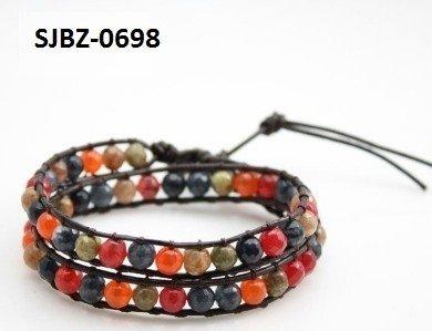 Wrap armband, bruin leer, ronde herfst/winterkleurige Agaat edelstenen kralen
