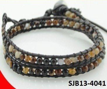 Wrap armband, bruin leer, ronde meerkleurige Agaat edelstenen kralen