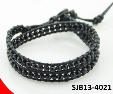 Wrap armband, zwart leer,  zwarte Onyx edelstenen kralen