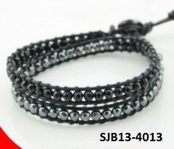 Wrap armband, zwart leer, ronde Onyx en kristal edelstenen kralen