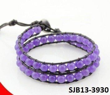 Wrap armband, zwart leer, ronde paarse Agaat edelstenen kralen