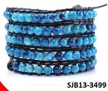 Wrap armband, zwart leer, verschillende ronde blauwe Agaat edelstenen kralen