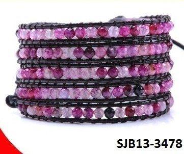 Wrap armband, zwart leer, ronde roze, paarse Agaat edelstenen kralen