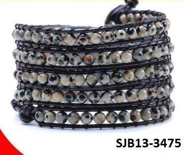 Wrap armband, bruin leer, ronde Dalmatische Jaspis half edelstenen kralen