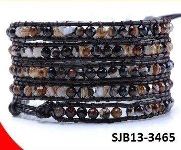 Wrap armband, bruin leer, ronde mulitkleuren Agaat edelstenen kralen
