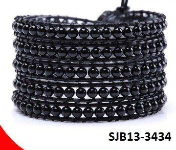 Wrap armband, zwart leer met ronde zwarte Agaat edelstenen kralen