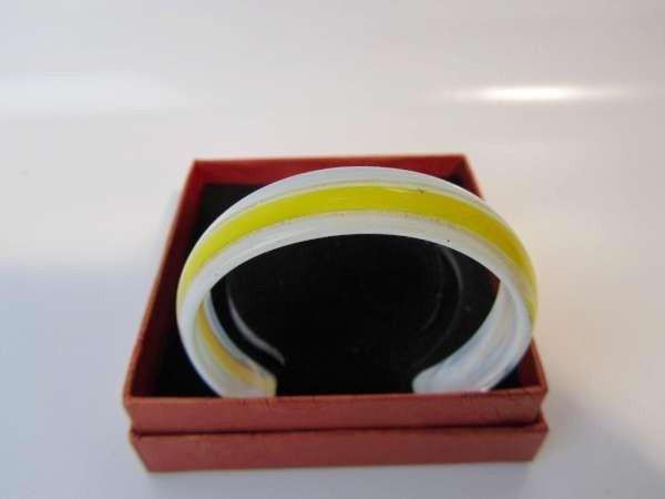 Murano armband, kleurencombinatie transparant, wit, goud, geel