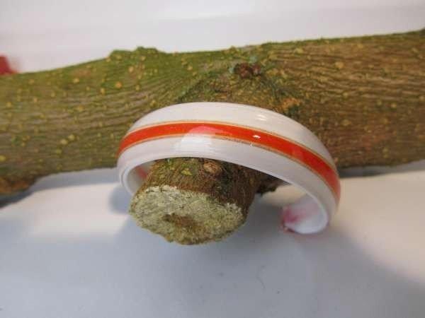 Murano armband, kleurencombinatie transparant, wit, oranje