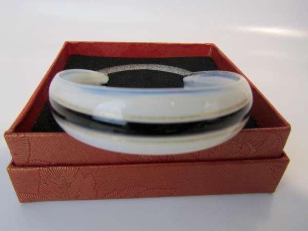 Murano armband, kleurencombinatie transparant, wit, goud, zwart