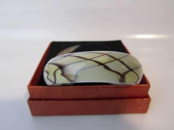 Murano armband, kleurencombinatie transparant, wit, geelgoud, bruin