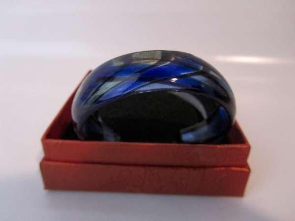 Murano armband, kleurencombinatie blauw, zilver en zwart