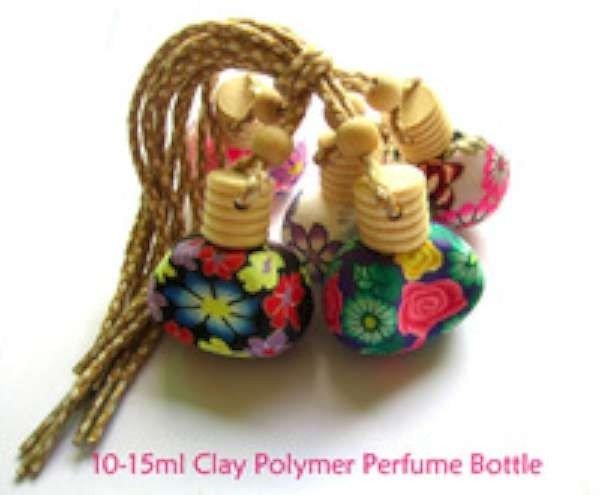 Flesje, glas, Groene thee parfum, polymere klei bloemmotief