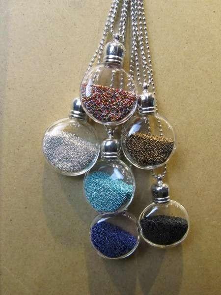 Bolletjesketting, zilverkleurig, ronde transparante glashanger fijne 'pareltjes', 6 kleuren