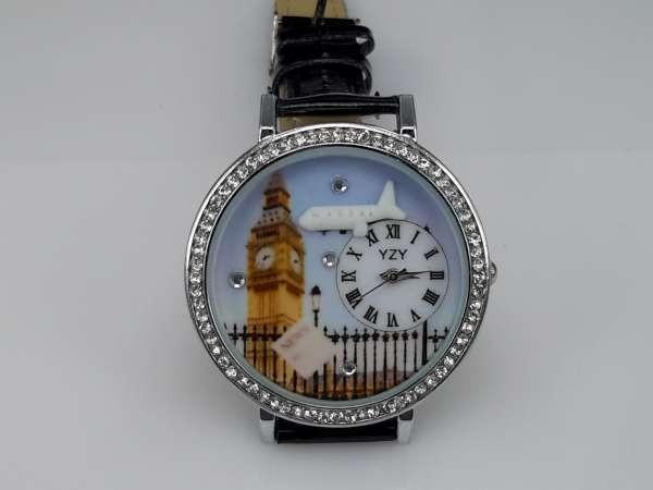 Horloge, zilverkleur, strass, PU leren band, klok: