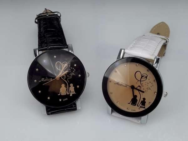Horloge, zilverkleurig, krokodillen PU leren band, verliefd stelletje, zwart en wit