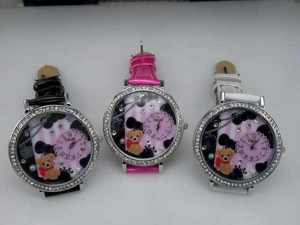 Horloge, zilverkleur, strass, PU leren band, klok: beertje, appeltje, 3 kleuren