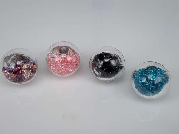 Ring, metaal, bol glas gevuld met strasssteentjes, mixpakket 12 stuks