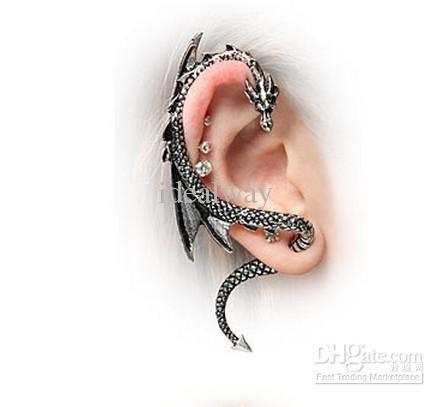 Oormanchet, oorsteker rechts, antiekzilverkleur, draak