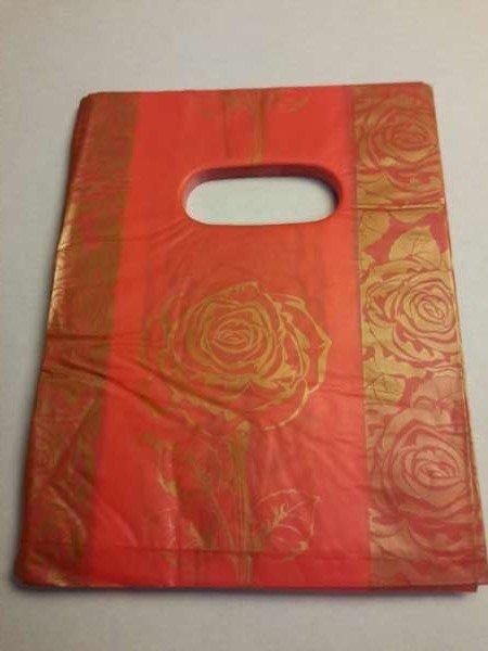 Plastic draagtasjes, rood, goudk, rozen, per 100