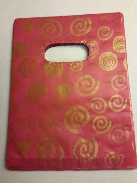 Plastic draagtasjes, rood, goudkl krullen, per 100