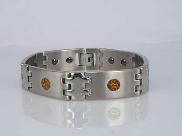 Edelstaal magneet armband, breed, langwerpige metalen schakels, rondje goudkleur glitter, shungite steen