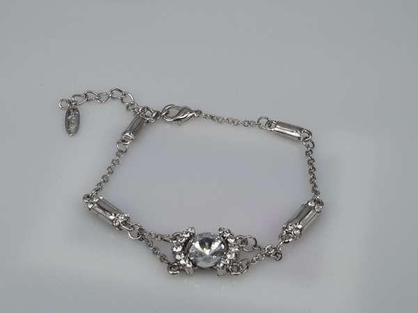 Armband, zilverkleur met 10 mm zirkonia en strass